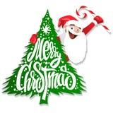 Rotulação feito a mão da árvore de Natal de Papai Noel ilustração royalty free
