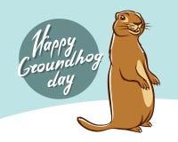 Rotulação feliz da ilustração do dia de Groundhog Fotos de Stock