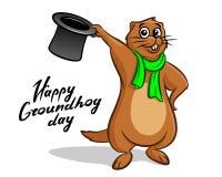 Rotulação feliz da ilustração do dia de Groundhog Foto de Stock Royalty Free