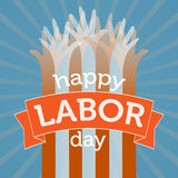 Rotulação feliz da mão do Dia do Trabalhador Fotos de Stock