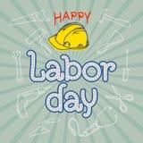 Rotulação feliz da mão do Dia do Trabalhador Fotografia de Stock Royalty Free