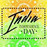 Rotulação feliz do cartão do Dia da Independência da Índia Imagem de Stock