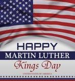 Rotulação feliz do cumprimento do dia de Martin Luther King, bandeira americana Fotografia de Stock Royalty Free