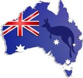 Rotulação feliz do dia de Austrália Mapa com da bandeira em um fundo azul fotografia de stock royalty free