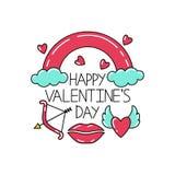 Rotulação feliz do dia de Valentim com os símbolos do dia de Valentim ilustração royalty free