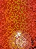 Rotulação feliz do vintage do dia de Valentim escrita pelo fogo ou pelo fumo sobre o fundo abstrato vermelho completamente dos cí Imagem de Stock Royalty Free