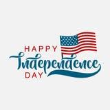 Rotulação feliz isolada do Dia da Independência, projeto gráfico Fotografia de Stock Royalty Free