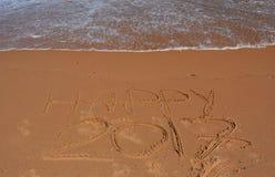 Rotulação 2017 feliz na praia Foto de Stock Royalty Free