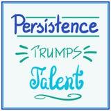 Rotulação inspirador das citações do talento dos trunfos da persistência ilustração stock