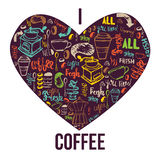 Rotulação moderna da bandeira do café na forma do coração Fundo colorido para envolver, bandeiras do vetor Imagem de Stock Royalty Free
