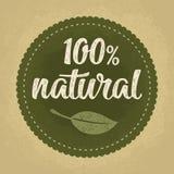 rotulação 100 natural com folha Obscuridade do vetor - ilustração verde do vintage Imagem de Stock Royalty Free