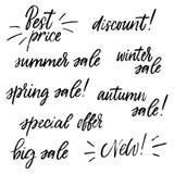 Rotulação sobre a venda e o preço Caligrafia seca da escova ajustada no fundo branco Ilustração do vetor Imagem de Stock Royalty Free