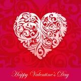 Rotulação tipográfica feliz do dia de Valentim no fundo cor-de-rosa com ilustração branca do vetor do coração ilustração royalty free