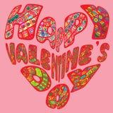 Rotulação tirada da escova do dia do ` s do Valentim mão feliz, isolada no fundo cor-de-rosa Aperfeiçoe para felicitações ilustração do vetor