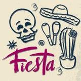 Rotulação tirada mão de Cinco de Mayo Fiesta com elementos da decoração no estilo do grunge Feriado mexicano, partido da festa, c ilustração royalty free