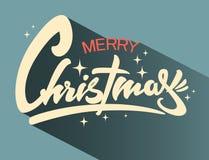Rotulação tirada mão do Natal Caligrafia retro do xmas Bandeira, cartão fotos de stock