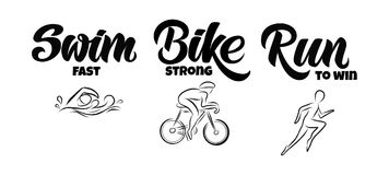 Rotulação tirada mão do Triathlon, citações: Nade rapidamente, Bike forte, corra-o para ganhar ilustração stock