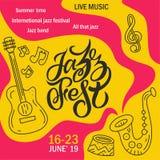 Rotulação tirada mão a mais jazzfest ilustração royalty free