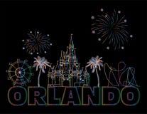 Rotula??o colorida de Orlando no backround preto Vetor com ícones do curso Cart?o do curso imagem de stock