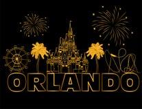 Rotula??o do ouro de Orlando no backround preto Vetor com ?cones e fogos de artif?cio do curso Cart?o do curso imagens de stock royalty free