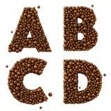 Rotula UM B C D isolado no branco, feito de bolhas do chocolate, conceito do chocolate de leite, a ilustração 3d Imagem de Stock Royalty Free