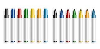 Rotulador colorido en el highlighter abierto y cerrado blanco del fondo, del marcador, los materiales de oficina, ejemplo del vec ilustración del vector