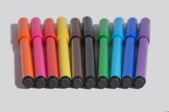 10 rotuladores multicolores Imagenes de archivo
