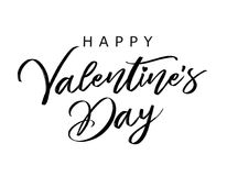 Rotulando a bandeira feliz do dia de Valentim para enegrecer Fotos de Stock Royalty Free