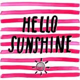 Rotulando a luz do sol romântica das citações do verão olá! Entregue a esboço tirado o sinal tipográfico do projeto, ilustração d Imagem de Stock Royalty Free
