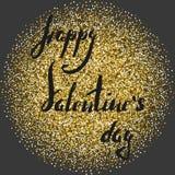 Rotulando o brilho dourado do daywith feliz dos Valentim para circundar em um fundo cinzento ilustração do vetor