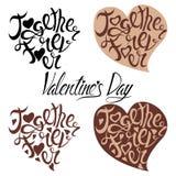 Rotulando o dia de Valentim sob a forma do coração do café ilustração do vetor