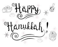 Rotulando o fundo branco do feriado judaico de hanukkah ilustração royalty free