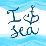 Rotulando o mar do amor de I Imagens de Stock