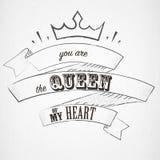 Rotulando o seja a rainha de meu coração no estilo do dotwork ilustração do vetor