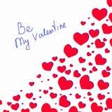 Rotular seja meu Valentim com corações Imagens de Stock