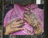 Rotule C para a cultura, bandeira do vinil, projeto imigrante do alfabeto, Philadelphfia foto de stock royalty free