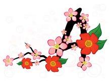 Rotule A com flores ilustração stock