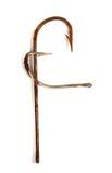 Rotule F composto dos ganchos de peixes oxidados velhos Fotografia de Stock