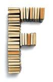 Rotule F formado das extremidades da página dos livros Imagem de Stock Royalty Free