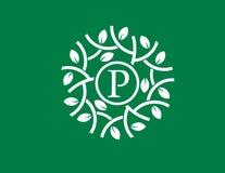 Rotule a folha verde de p para circundar com o conceito verde do logotipo do fundo ilustração stock