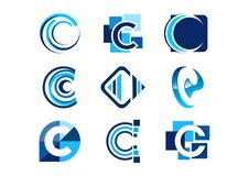 Rotule o logotipo de c, logotipos abstratos da empresa dos elementos do conceito, grupo de projeto abstrato do vetor do ícone do  ilustração royalty free