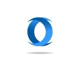Rotule o logotipo de O, projeto gráfico azul, forma geométrica Imagens de Stock Royalty Free