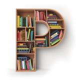Rotule P Alfabeto sob a forma das prateleiras com os livros isolados sobre Imagens de Stock Royalty Free