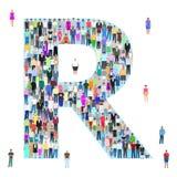 Rotule R, povos diferentes, ilustração do vetor Imagens de Stock