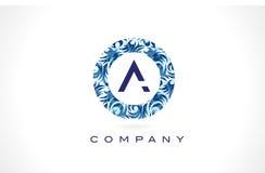 Rotule um teste padrão azul Logo Design ilustração stock