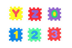 Rotule y, z, e número 0, 1, 2, 3 Imagens de Stock Royalty Free