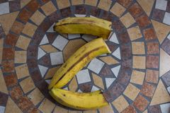 Rotule Z feito com bananas para formar uma letra do alfabeto com frutos Imagens de Stock Royalty Free