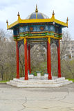 Rotunda arbor `A lunar calendar` in the Friendship park. Elista, Kalmykia.  Royalty Free Stock Image