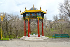 Rotunda arbor `A lunar calendar` in the Friendship park. Elista, Kalmykia.  Royalty Free Stock Photos