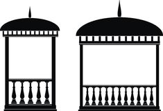 Rotunda (arbour). Illustration of architectural element - Arbour (rotunda): black, isolated vector, white background Royalty Free Stock Photo